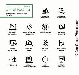修理, セット, サービス, アイコン, 現代, -, 単一, ベクトル, 装置, 線