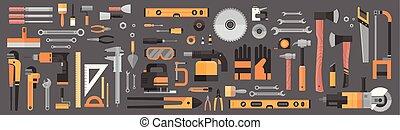 修理, セット, 仕事, 道具, コレクション, 手, 装置, 建設