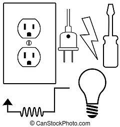 修理, セット, 電気技師, アイコン, シンボル, 建築業者, 電気である