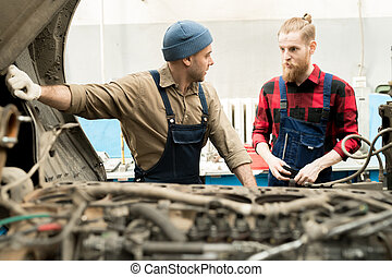 修理, トラック, 技術者
