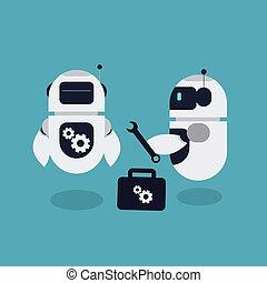 修理, ベクトル, ロボット, イラスト, マスコット, 平ら
