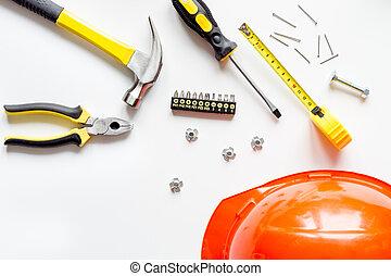 修理, 上, 背景, 白, 道具, 光景