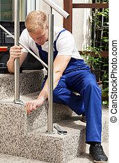 修理, 人, 階段手すり