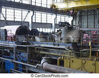 修理, 力発電機, の間, タービン, 蒸気