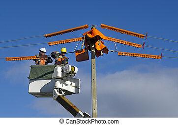 修理, 労働者, 電気である, 棒, 力