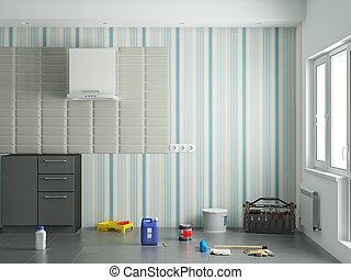 修理, 台所, 部屋, イラスト, 3d