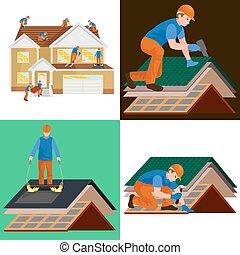 修理, 家, 装置, 屋外で, 道具, 屋根, 屋根職人, 住宅の, 労働, 建造しなさい, タイル, 家, 男性,...