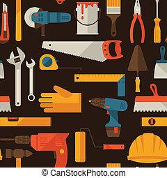 修理, 工作, 模式, seamless, icons., 工具