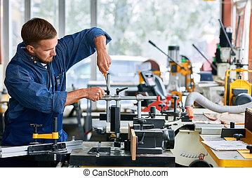 修理, 工場, 機械, 人