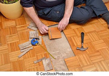 修理, 平ら, 木製の床