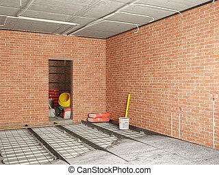 修理, 建設, 部屋, イラスト, 3d