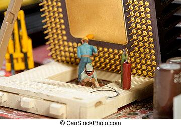 修理, 忙しい, 小立像, ミニチュア, team., おもちゃ, maintenance., 維持, チーム