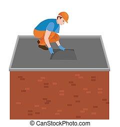 修理, 房子, 設備, 在戶外, 工具, 屋頂, 屋面工, 居住, 勞動, 建造, 瓦片, 家, 人, 工人, 插圖,...