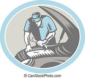 修理, 木版, 自動車, レトロ, 機械工, 自動車
