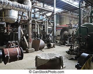 修理, 植物, 力発電機, の間, タービン, 蒸気