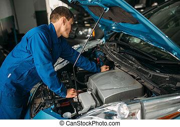 修理, 機械工, 自動車, 診断, モーター, エンジン