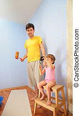 修理, 父, 部屋, 子供