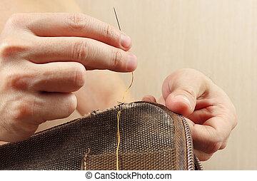 修理, 生地, 針, 仕立屋, クローズアップ, 手, 強い