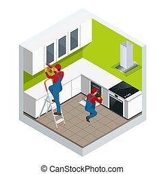 修理, 等大, アパート, アセンプリ, illustration., concept., キャビネット, ちょうつがい...