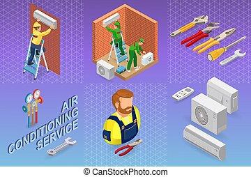 修理, 等容线, conditioning., concept., 系统, 空气, 内部