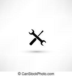 修理, 紋章, ワークショップ, -, イラスト, screwdriver., ベクトル, レンチ