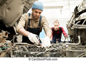 修理, 自動車, トラック, 機械工
