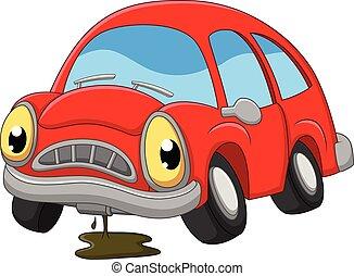 修理, 自動車, 悲しい, 必要性, 漫画, 赤