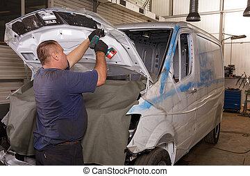 修理, 自動車, 開いているボンネット, 機械工