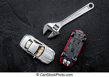 修理, 自動車, concept., 黒, レンチ, 背景, おもちゃ, 平面図