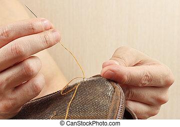 修理, 袋, 丈夫である, 針, 布, 下水道, クローズアップ, 手