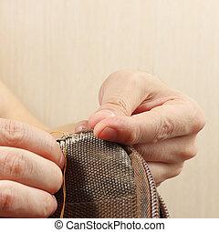 修理, 袋, 丈夫である, 針, 布, 仕立屋, クローズアップ, 手