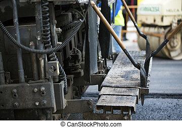 修理, 追跡される, アスファルト, ペーバー, 舗装, 仕事, 道