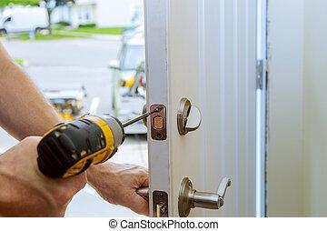 修理, 門, doorknob., 安裝, worker's, 上鎖人, 人物面部影像逼真, 手, 新的人