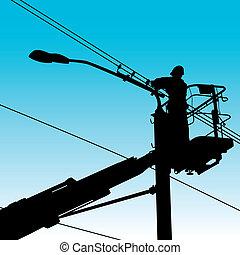 修理, illustration., 力量, pole., 電工, 矢量, 做