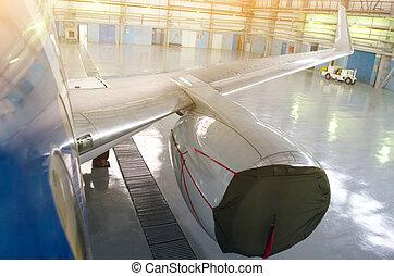 修理, maintenance., 飛行機エンジン, サービス, カバー