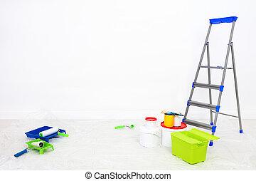 修理, room., ペンキ, 段ばしご, 空白の壁