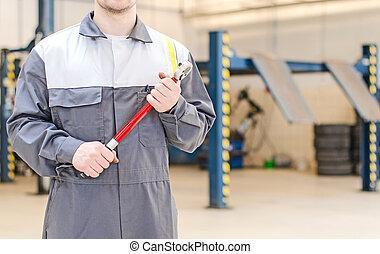 修理, shop., 自動車, トルク, レンチ, 機械工