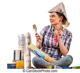 修理, wallpaper., 妇女, 画笔, 握住, 家
