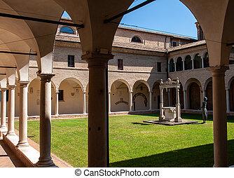修道士, イタリア, 古い, franciscan, 回廊, 中庭, ravenna.