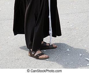 修道士, サンダル, はだしで, 習慣