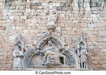 修道士, バプテスト, jerome, dubrovnik, 私達の, franciscan, 神, 悲哀, croatia, 父, 聖者, 教会, 入り口, ジョン, 女性, マイナー