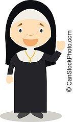 修道女, かわいい, ベクトル, 漫画, イラスト