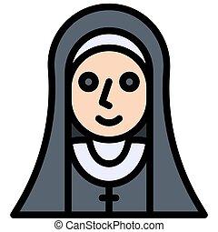 修道女, ハロウィーン, 悪魔, 衣装, アイコン, パーティー