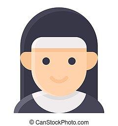 修道女, ハロウィーン, avatar, 衣装, ベクトル, アイコン
