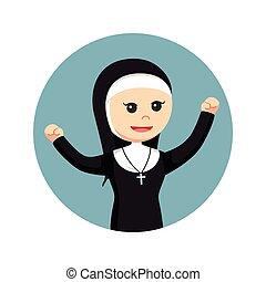 修道女, 円, 背景, 幸せ