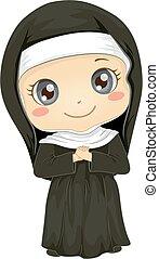修道女, 女の子, 衣装, イラスト, 子供