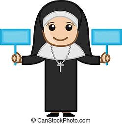 修道女, 旗, ベクトル, 2, 保有物