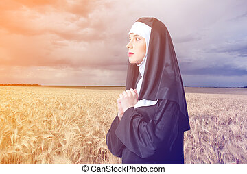 修道女, 深刻, 若い, 交差点