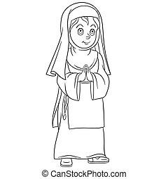 修道女, 祈ること, 女の子