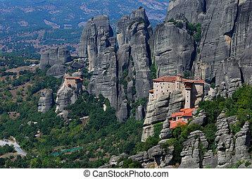 修道院, の, meteora, ギリシャ, ランドマーク